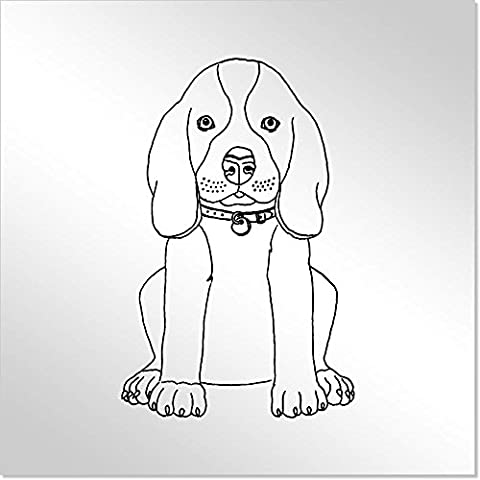 10cm 'Beagle Puppy' Decorative Acrylic Mirror Tile (MT00008367)
