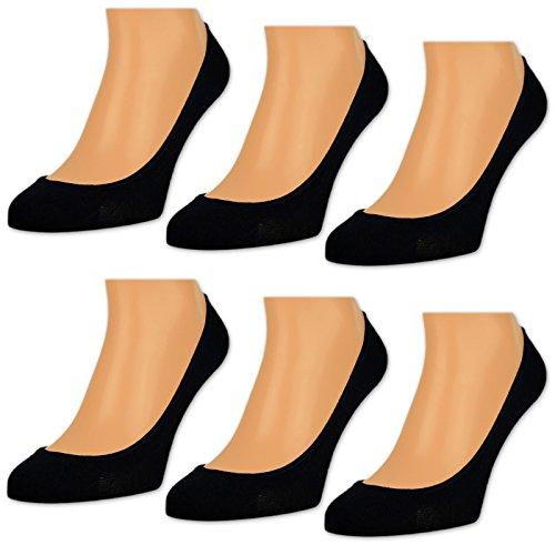 6-oder-12-Paar-Damen-Flinge-Ballerina-Socken-Footies-Baumwolle-Schwarz-Wei-Beige-15500-Schwarz-35-38-6-Paar