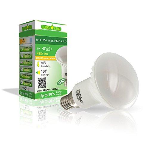 LumenStar® LED E14 R50 Lampe 5 Watt - 450lm, 3000K warmweiß, 160° Abstrahlwinkel, ersetzt 50W - Salerno