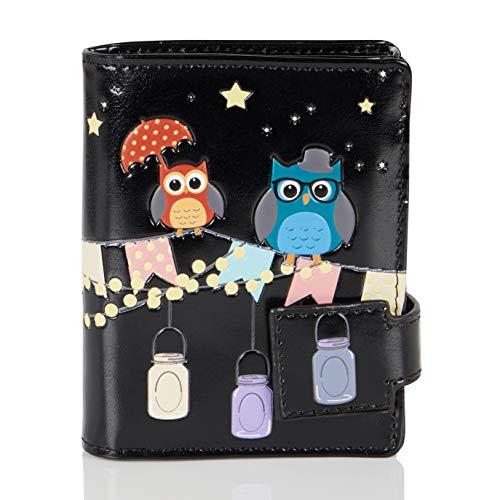 Shagwear Junge-Damen Geldbörse, Small Purse Designs: (Veranda & Eulen Schwarz/Patio Owls)