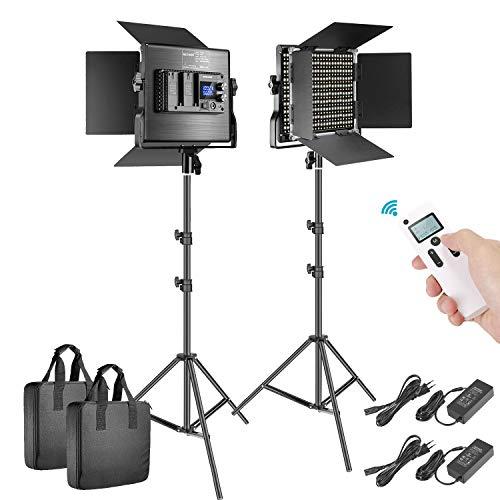 Neewer 660 LED Panneau 2,4G -Lot de 2 Lumière Vidéo Amélirée Kit Eclairage LED,Panel LED Bi-Couleur Réglable avec LCD Ecran Déclencheur 2,4G et Pied pour Photographie Portrait Produit