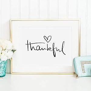 Kunstdruck, Sprüche Poster: Thankful | Hochwertiges und festes Premiumpapier | Ohne Rahmen