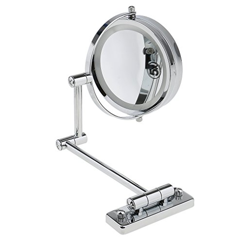 Gazechimp Doble Cara de Montaje en Pared Espejo Cosmético de Aumento con LED Luces