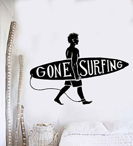 Neue Sport Serie Tapetensticker Surfen Kerl Surf Beach Surfer Wand Aufkleber Vinyl Art Design Wandbild Home Schlafzimmer Dekoration LA029 (Kerl Surfen)