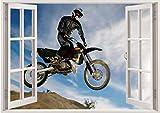 Qjhdg 3D Effekt Fenster Wandaufkleber Motocross Racing Vinyl Applique Dekorative Wandbild Küche Badezimmer Wandkunst 60X90 Cm