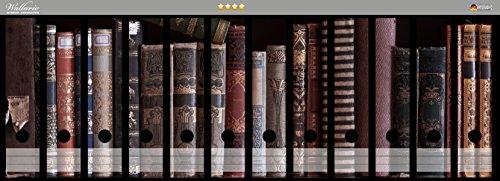 Wallario Ordnerrücken Sticker Bücherregal mit alten Büchern in Premiumqualität - Größe 72 x 30 cm, passend für 12 breite Ordnerrücken (72 Bücherregal)