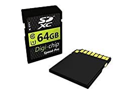 Digi-Chip 64GB, CLASS 10 SDXC 64GB Speicherkarte Reduktion für Nikon D800/D800E, D3200, D750 D810, D600, D610, D7100 D5200, D3300, D5300, DF and Giclée D5100 Digitalkamera