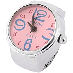 Ladies Pink Digital Display Case Elastic Band Finger Watch