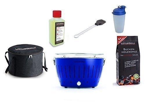 Lotus Bleu Outremer Barbecue Kit de démarrage 1x Lotus Couleur Spéciale 1x Hêtre Charbon de bois 1kg, 1x Pâte combustible 200ml, 1x Pinceau anthracite, 1x Shaker à vinaigrette, 1x sac de transport