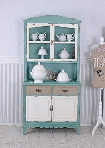 Küchenvitrine Shabby Chic Vitrine Buffet Vitrinenschrank Küchenbuffet (A+B) mxa016 Palazzo Exclusiv