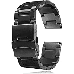 SAMGU High Quality Leisure Solid Stainless Steel Strap 22mm Bracelet Watch Band Color Black