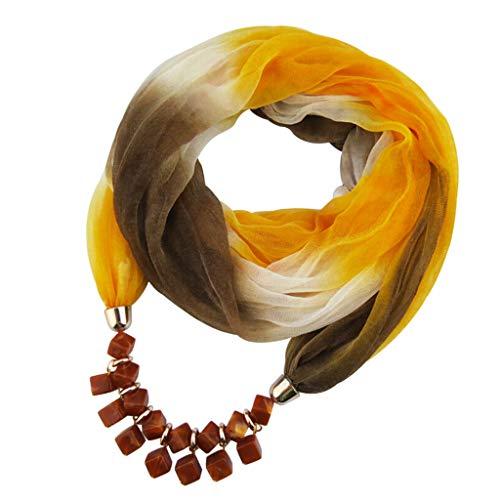 Oliviavan Damen Halskette Modeschmuck Anhänger Schals & Tücher Jahrgang böhmischen Stil einfarbig mit Schnalle Kette Quasten Schal Halskette und Leinen mit Lätzchen 180x48cm (B, 1) -