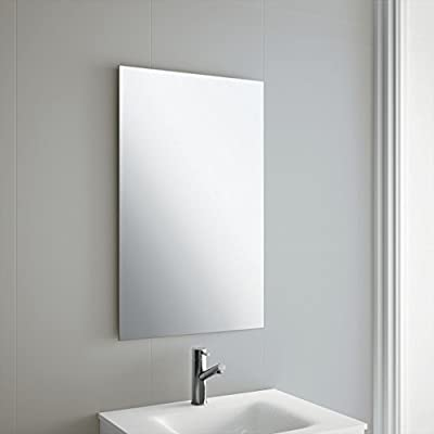 50 x 70cm Rectangle Bathroom Mirror, Unframed, Frameless Bathroom Mirror with Wall Hanging Fixing Hardware - inexpensive UK light store.