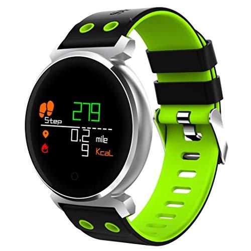 Fuibo Smartwatch, Farbbildschirm Herzfrequenz Blutdruck Sport IP68 Smartwatch für IOS Android Armbanduhr Sport Fitness Tracker Armband (Grün) (Vibrations-sensor-armband)