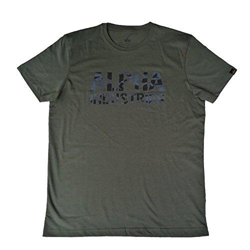 Alpha Industries Camo Print T,T-Shirt,Alpha Shirt,Baumwolle,Bedruckt (3XL, Dark-Olive)
