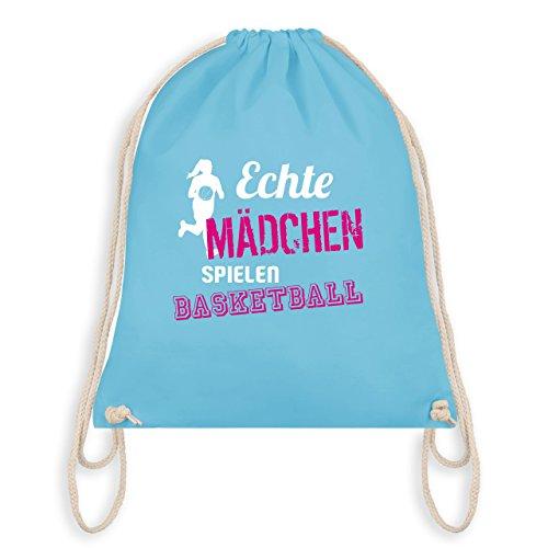 (Shirtracer Basketball - Echte Mädchen spielen Basketball - Unisize - Hellblau - WM110 - Turnbeutel & Gym Bag)