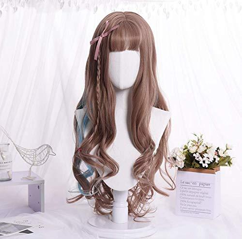 ke 68cm langes lockiges Haar Pflege Gesicht langes Haar Qi Liu Hai Welle flauschige atmungsaktive Mischfarbe - braun, blau ()