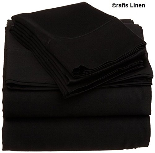 Crafts Leinen Ägyptische Baumwolle 600-thread-count Super Soft Satin 4-Bettlaken-Set, Black Solid, 220X240 Cm (Solid-600-thread)