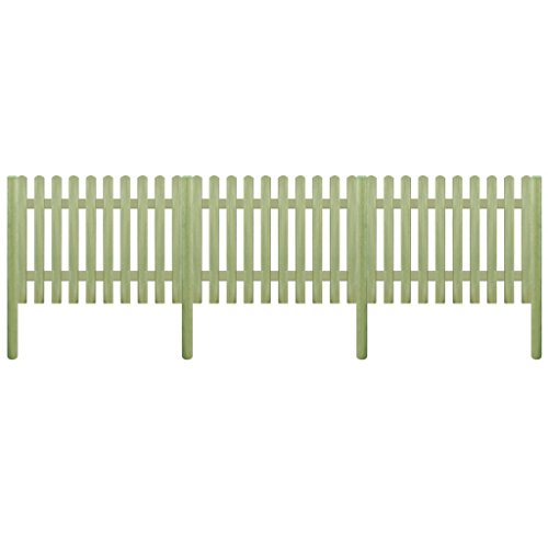 Tidyard Clôture avec Poteaux | Clôture de Jardin | Clôture de Sécurité | Clôture Décorative Bois de Pin Imprégné Vert FSC 5,1 m 170 cm 6/9 cm