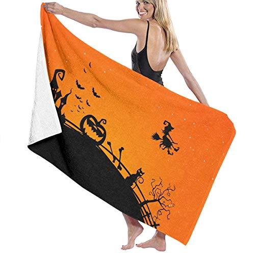 ASKSWF Halloween Creepy Bats Midnight Cat Bath Towels Beach Towel Travel Pool for Adults Kids