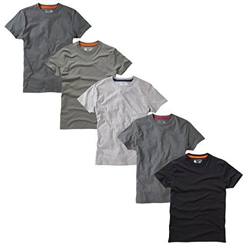 Charles Wilson 5er Packung Einfarbige T-Shirts mit Rundhalsausschnitt Monochrom