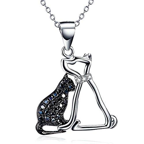 Animal collar 925plata de ley Circonita perro gato colgante collar para mujer 18inch