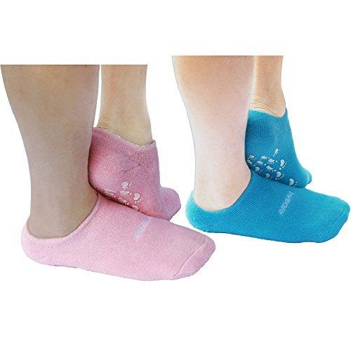 AYAOQIANG Feuchtigkeitsspendende Gel Spa Socken Universal Silikon Socken für Fußpflege ---2Pair (Pink und Blau) (Wir Könnten Nach Hause Jetzt)