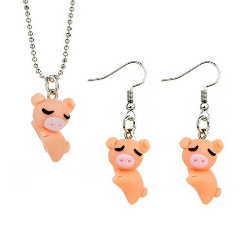 Caimeytie Mädchen Schmuck-Sets Halskette Anhänger und Ohrringe Schwein - Schwein-anhänger-halskette