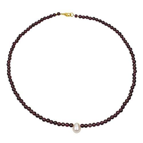 Funk-Collier Edelsteinkette Granat mit Süsswasser Zuchtperle, vergoldeter Karabiner, Länge: ca. 43.5 cm