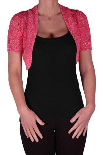 EyeCatch - Erin Lurex Taille Unique Boléro Tricoter Haussement D'Épaules Corail