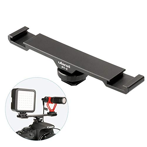 HAMISS Ulanzi PT-2 Metal Cold Shoe Plate Universal 2 Hot Shoe Mount Extension Bar Dual Bracket with 1/4
