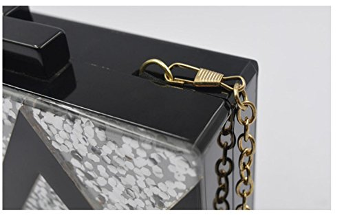 GSHGA Warmens Taschen Acryl Streifen Nehmen Sie Den Kampf Rechteck Schulter Messenger Bag Handtaschen Dinner Bag,Gold Silver