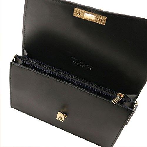 Tuscany Leather TL Bag Pochette in pelle con tracolla a catena Rosso Nero
