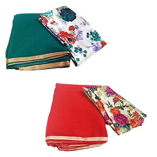 GreenViji Women\'s Chiffon Green::Red Saree With Net Blouse Piece_Combo