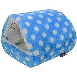 Ogquaton Confort Hamster Casa Colgante Felpa Jaula Hamster Hamster Cálido Hamaca Nido Durmiente Suministros para Mascotas para Uso en el Interior Azul Claro 1 UNIDS