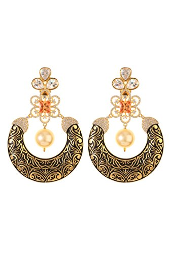 Dilan Jewels KNOWLEDGE Collection Multicolor Gold Plated Meenakari Chandbali Earrings For Women