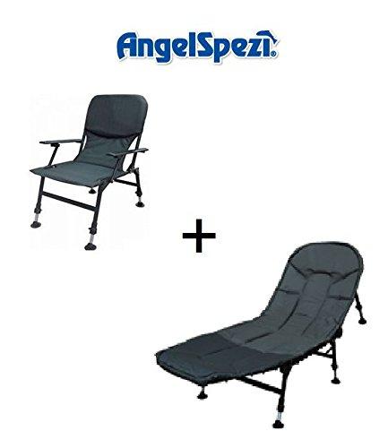 Angelspezi Karpfenliege + Karpfenstuhl Angelliege Angelstuhl Set Camping Angeln