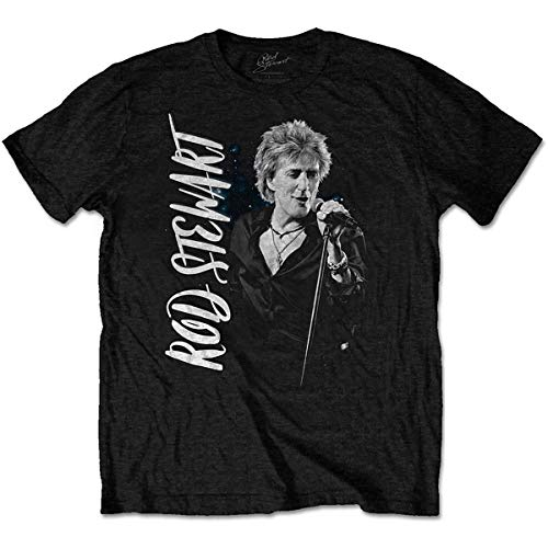 Rod Stewart Mic Stand Pose Blood Red Roses Tee T-Shirt Mens Unisex