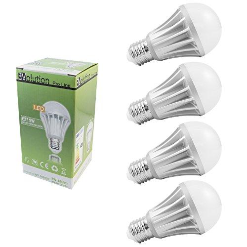 4x Evolution® Pro Line | E27 9W 530 Lumen LED | Leuchtmittel AC 230V 120° Lampe warmweiß