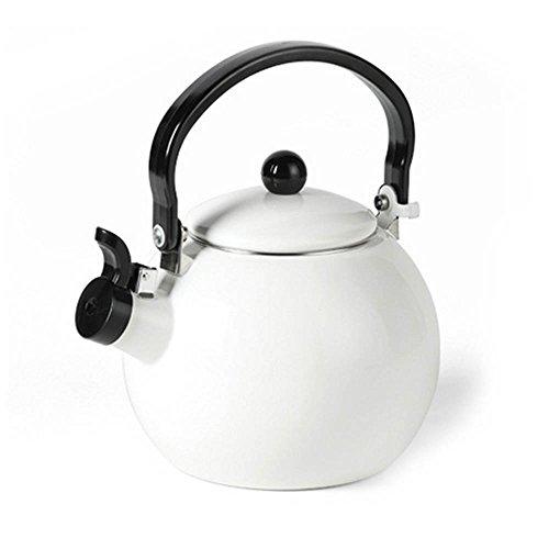 TAMUME Pfeifen Kessel Emaille 2 Liter Herd Top Enamel Tee Wasserkocher Pfeifen Ideal für die Herstellung von Tee und Suppe Gas Herd Küche Wasserkocher - Weiß (Weiß) - Weiß-gas-herd