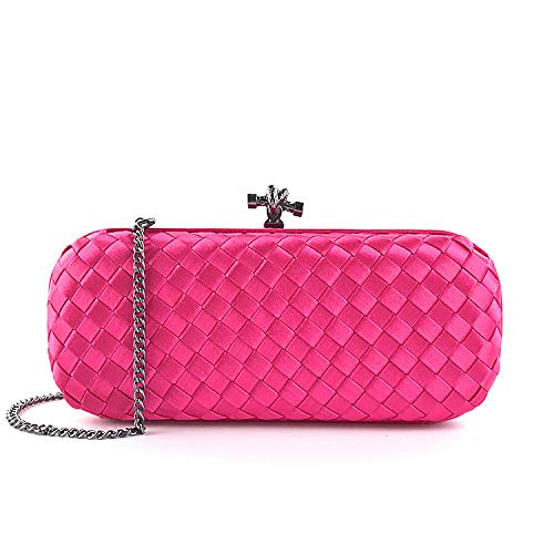 Schnalle Baguette-handtasche (Bdpen Damen Baguette Envelope Clutch Tasche - Abendtasche Handtasche Schräg Gewebt Tasche Abendtasche Kleid Bankett Tasche Handtasche Schulter Gewickelt Tasche Partei Rose Rot)