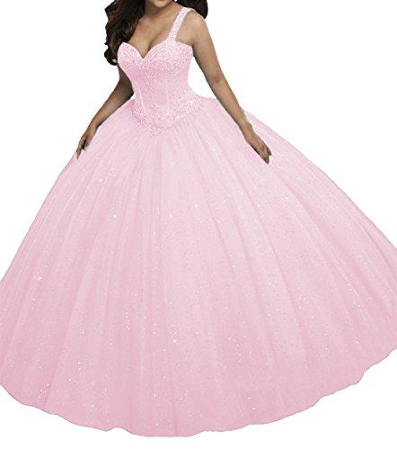 O.D.W Prinzessin A-Linie Paillette Lange Mädchen Quinceanera Kleider Formales Party Ballkleider Süße 15(Rosa, 54)