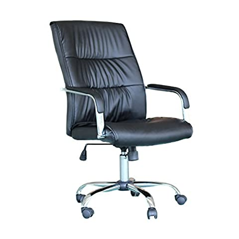 EBS Office Executive Swivel Computer Desk Chair PU Leather High Furniture Computer - Black Leather Chrome