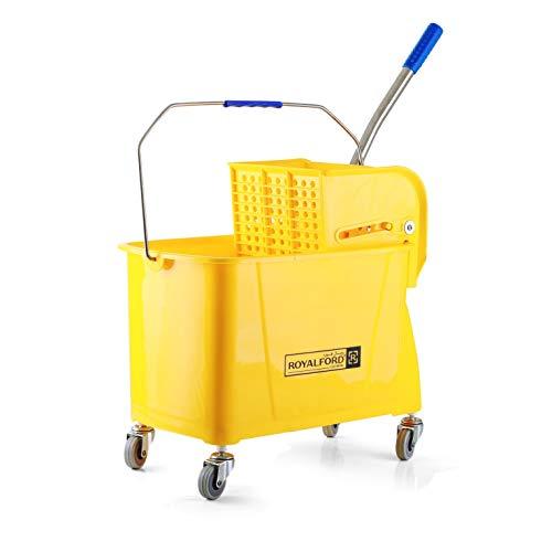 Royalford - Cubo de limpieza con ruedas de 24 litros y escoba resistente, juego de escoba y recogedor duradero, productos de limpieza esenciales