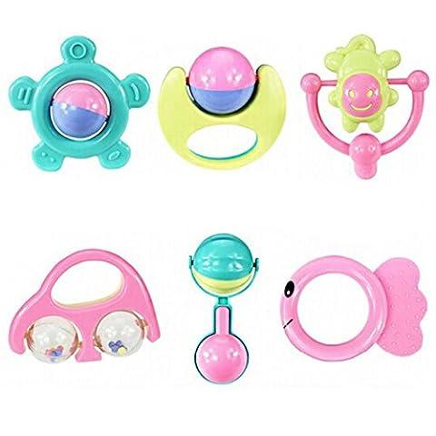 WINWINTOM 6pc Tier Handbells Developmental Spielzeug Glocken Kinder Baby Rattle Lovely