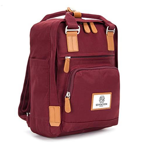 SEVENTEEN LONDON - Moderner, einfacher und Unisex 'Hackney Mini' Rucksack in Burgunderrot mit einem klassischen Design im Skandi-Stil - perfekt für Tablets (Vintage-tablet-fall)