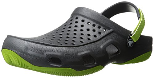 crocs Swiftwater Deck Clog Men, Herren Clogs, Grau (Graphite/Volt Green), 43-44 EU