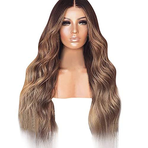 Damen Perücke Blond Lang Lockige Haar,Sunday Elegant Braun Wig Ombre Hitzeresistente Perücke für Täglichen Cosplay Party Kostüm SU-819 (Braun)
