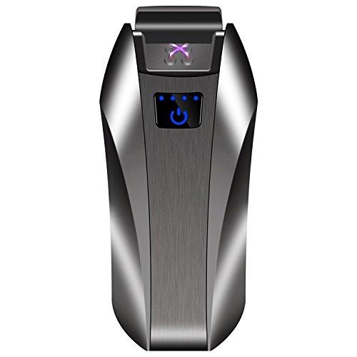 LINGAN Mechero Electrónico Doble Arco USB Encendedor Doble Arco Eléctrico Plasma Recargable Inflamable Resistente al Viento Interruptor Táctil Encendedor para Cigar Cigarrillo Vela Pipe, Negro