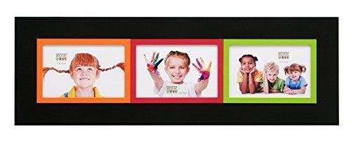 Deknudt Frames S67JK2-P3-10.0X15.0 Bilderrahmen, für 3 Bilder, 58 x 20 x 1 cm, Schwarz